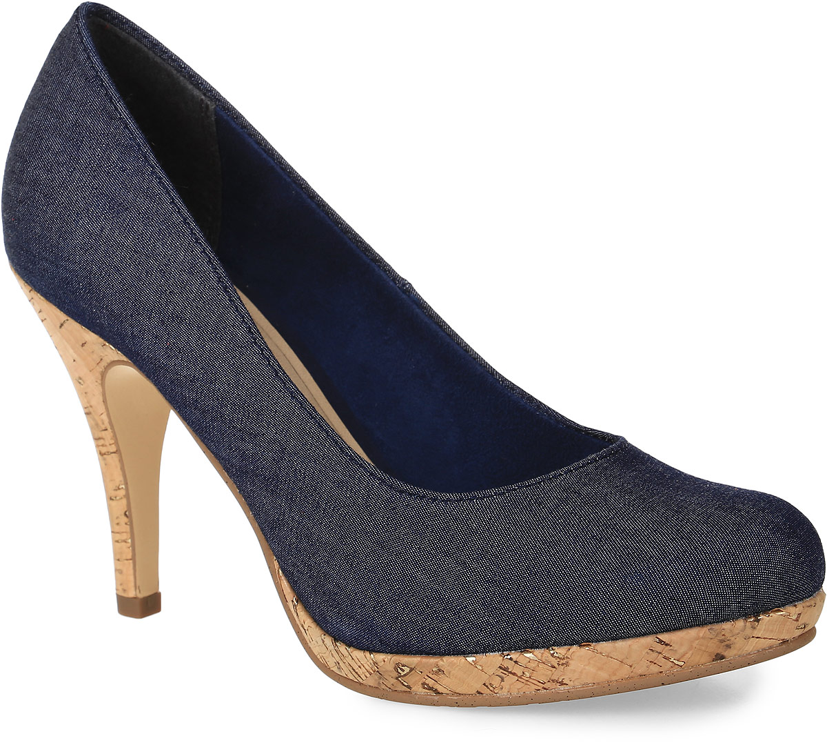 Туфли женские Tamaris, цвет: темно-синий. 1-1-22407-28-807. Размер 381-1-22407-28-807Стильные женские туфли от Tamaris заинтересуют вас своим дизайном! Модель выполнена из текстиля. Подкладка из текстиля и мягкая стелька из искусственной кожи обеспечивают комфорт при движении. Высокий каблук, стилизованный под дерево, компенсирован небольшой платформой. Подошва и каблук дополнены рифлением.