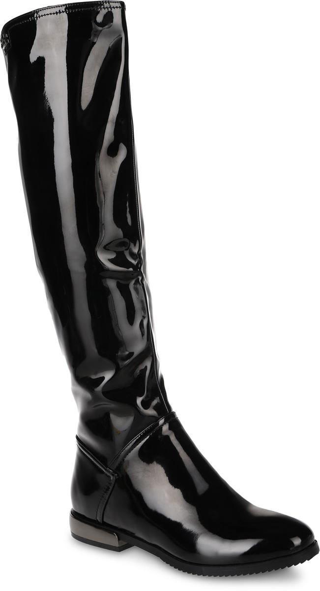 Сапоги женские Daze, цвет: черный. 16452Z-4-2F. Размер 3916452Z-4-2FЖенские сапоги от Daze выполнены из искусственной лакированной кожи. Подкладка и стелька из фельпы обеспечат комфорт. Застегивается модель на боковую застежку-молнию. Верхняя часть голенища дополнена эластичными вставками, которые гарантируют идеальную посадку модели на ноге. Каблук оформлен вставкой, стилизованной под металл. Подошва и каблук дополнены рифлением.