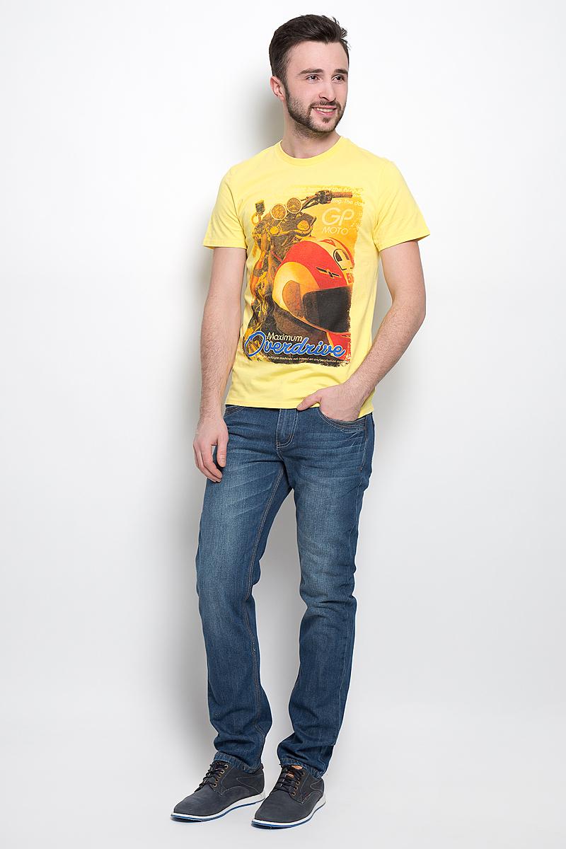 Футболка мужская Sela Sport, цвет: ярко-желтый. Ts-2411/004-7111. Размер XL (52)Ts-2411/004-7111Стильная мужская футболка Sela Sport выполнена из натурального хлопка. Модель с круглым вырезом горловины и короткими рукавами.