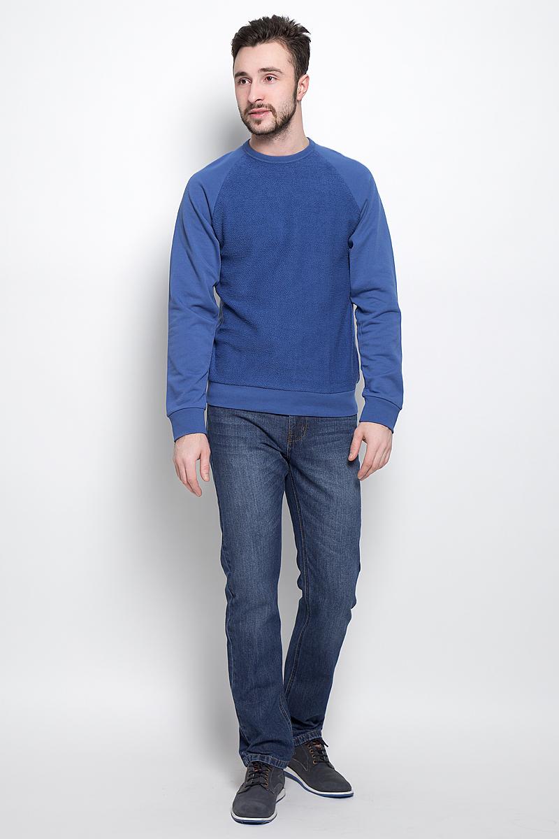 Свитшот мужской Sela Casual Wear, цвет: синий. St-213/826-7120. Размер L (50)St-213/826-7120Стильный мужской свитшот Sela Casual Wear выполнен из хлопка с добавлением полиэстера.Модель с круглым вырезом горловины и длинными рукавами-реглан.