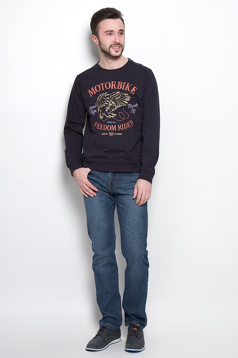 Свитшот мужской Sela Casual Wear, цвет: темно-синий. St-213/828-7120. Размер XS (44)St-213/828-7120Стильный мужской свитшот Sela Casual Wear выполнен из хлопка и полиэстера. Модель с круглым вырезом горловины и длинными рукавами. Манжеты, горловина и низ изделия дополнены трикотажными резинками.