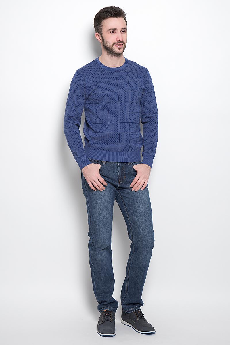 Джемпер мужской Sela, цвет: темно-синий. JR-214/1012-7121. Размер M (48)JR-214/1012-7121Стильный мужской джемпер выполнен из натурального хлопка. Модель с круглым вырезом горловины и длинными рукавами.