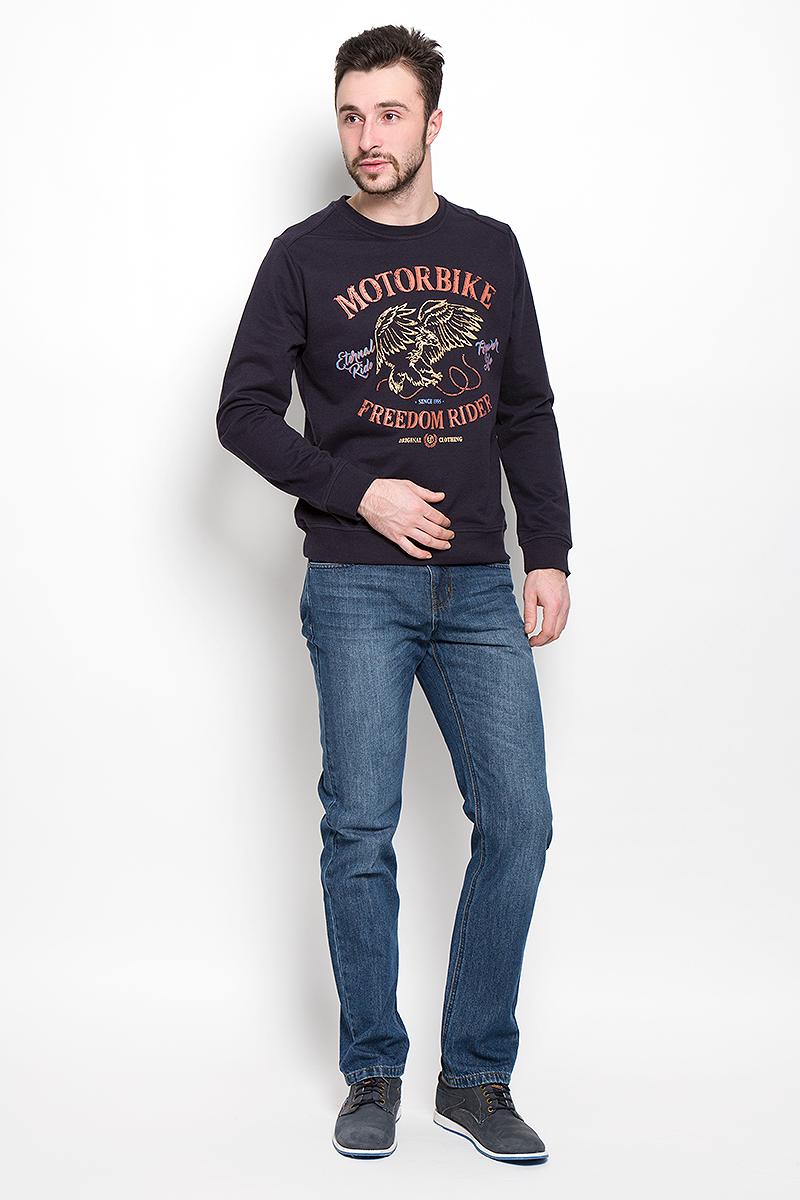 Джинсы мужские Sela Denim, цвет: синий джинс. PJ-235/1075-7150. Размер 30-34 (46-34)PJ-235/1075-7150Мужские джинсы Sela Denim выполнены из натурального хлопка с добавлением полиэстера.Прямая модель джинсов застегивается спереди на металлическую пуговицу и имеет ширинку на застежке-молнии. На поясе предусмотрены шлевки для ремня. Спереди расположены два втачных кармана и один маленький накладной, а сзади - два накладных кармана.