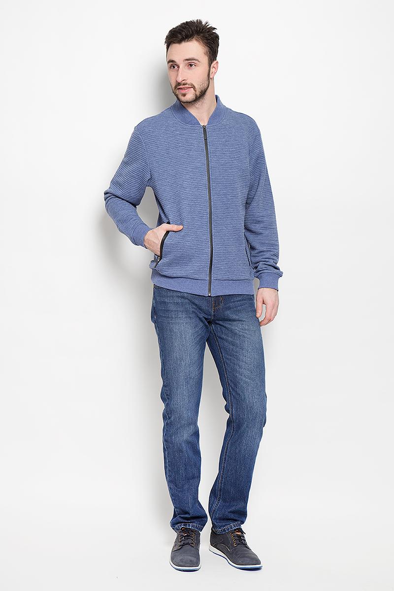 Кофта мужская Sela Casual Wear, цвет: сине-серый. Stc-213/827-7120. Размер M (48)Stc-213/827-7120Стильная мужская кофта Sela Casual Wear выполнена из полиэстера с вискозой застегивается спереди на молнию. Модель с воротником-стойкой и длинными рукавами дополнена двумя прорезными карманами на застежках-молниях.