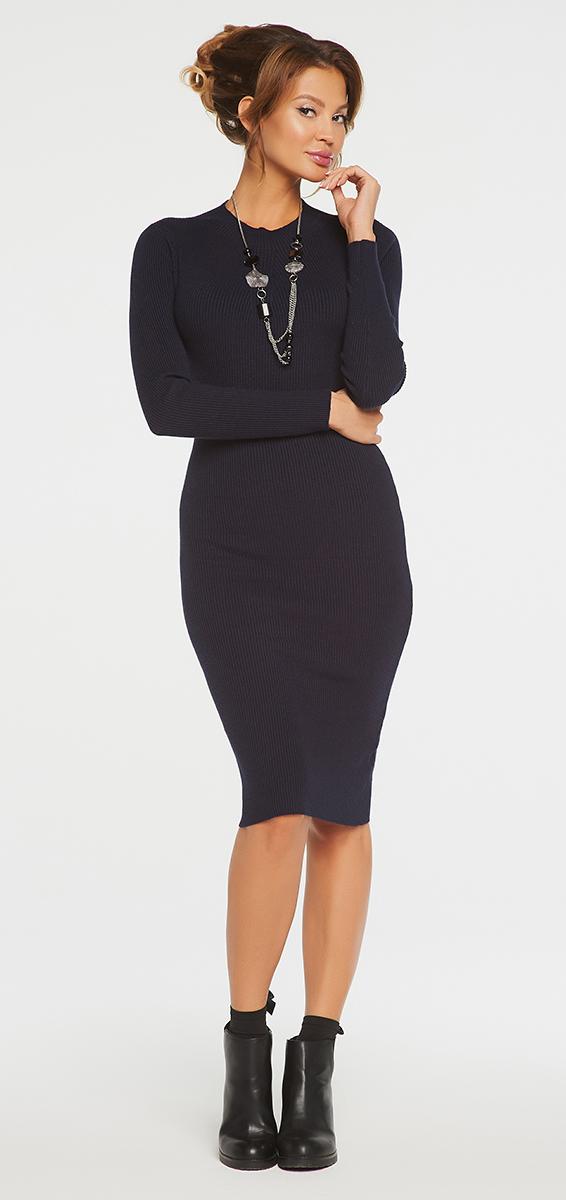 Платье Vittoria Vicci, цвет: темно-синий. VV16-1752. Размер S (42)VV16-1752Платье Vittoria Vicci выполнено из хлопка с добавлением вискозы, полиамида и эластана. Вязаная модель средней длины с длинными рукавами имеет воротник-стойку. Платье превосходно тянется.