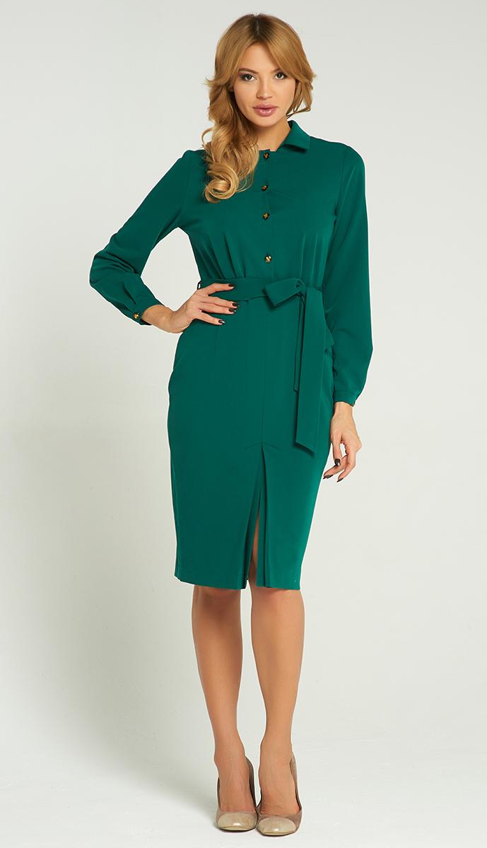Платье Vittoria Vicci, цвет: темно-зеленый. VV-16-51256-1. Размер M (46)VV-16-51256-1Стильное платье Vittoria Vicci изготовлено из полиэстера и вискозы с добавлением эластана.Модель-миди с отложным воротником и длинными рукавами застегивается спереди на четыре пуговицы, сбоку - на скрытую застежку-молнию. Манжеты рукавов оснащены застежками-пуговицами. Спереди модель дополнена разрезом, на талии - поясом.