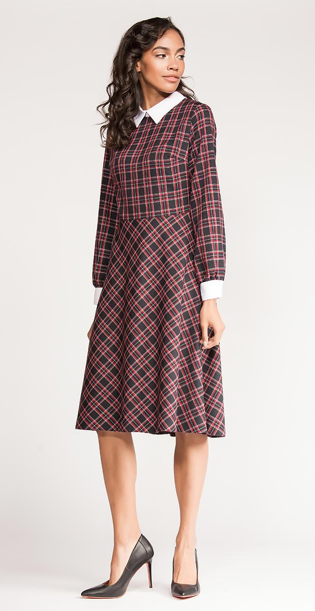 Платье Vittoria Vicci, цвет: темно-синий, красный, белый. VV16-51160-1. Размер S/M (44)VV16-51160-1Стильное платье Vittoria Vicci изготовлено из полиэстера с добавлением вискозы и шерсти.Модель-миди приталенного кроя с отложным воротником и длинными рукавами застегивается на скрытую застежку-молнию, расположенную на застежку-молнию. Манжеты рукавов оснащены застежками-пуговицами. Модель оформлена оригинальным принтом.