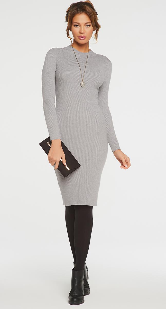 Платье Vittoria Vicci, цвет: серый. VV16-1752. Размер S (42)VV16-1752Платье Vittoria Vicci выполнено из хлопка с добавлением вискозы, полиамида и эластана. Вязаная модель средней длины с длинными рукавами имеет воротник-стойку. Платье превосходно тянется.