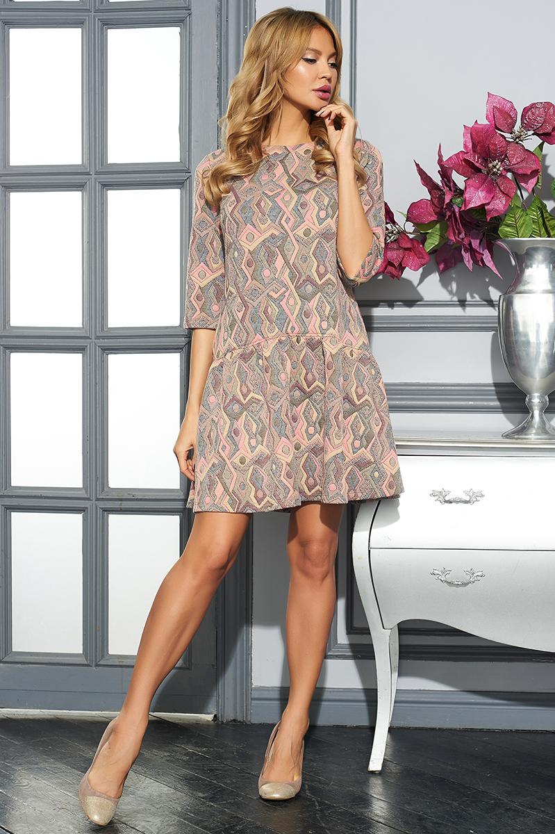 Платье Vittoria Vicci, цвет: коралловый, светло-коричневый, черный. VV16-2801-1. Размер M (46)VV16-2801-1Стильное платье Vittoria Vicci изготовлено из хлопка и полиэстера с добавлением эластана.Модель-миди свободного кроя с круглым вырезом горловины и рукавами 3/4 оформлена оригинальным принтом.