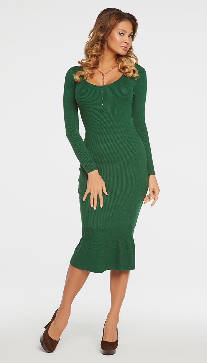 Платье Vittoria Vicci, цвет: зеленый. VV16-576. Размер M (46)VV16-576Платье Vittoria Vicci выполнено из хлопка с добавлением вискозы, полиамида и эластана. Вязаная удлиненная модель с длинными рукавами имеет круглый вырез горловины. Платье дополнено декоративными пуговицами на груди.