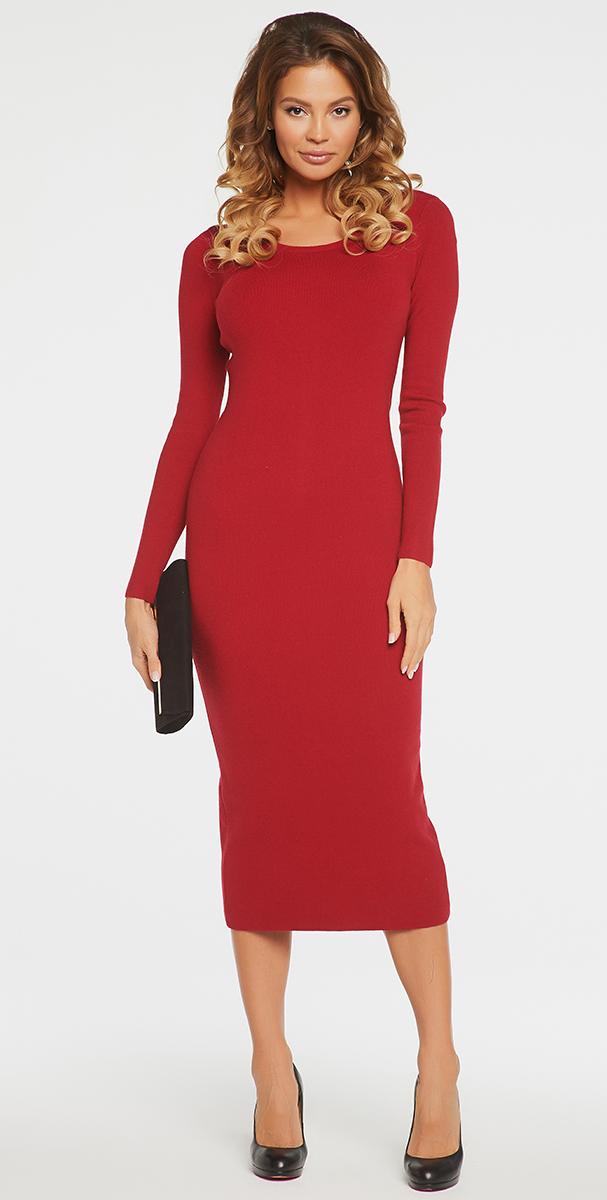Платье Vittoria Vicci, цвет: бордовый. VV16-111. Размер XS (40)VV16-111Платье Vittoria Vicci выполнено из хлопка с добавлением вискозы, полиамида и эластана. Вязаная удлиненная модель с длинными рукавами имеет круглый вырез горловины. Платье застегивается на металлическую застежку-молнию на спинке и имеет неглубокий разрез по низу сзади.