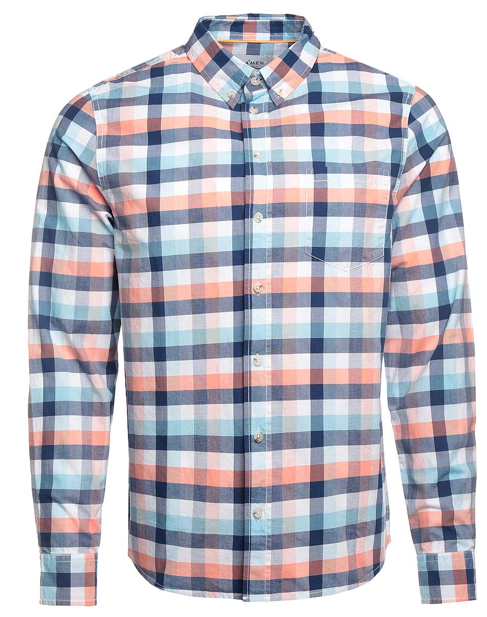 Рубашка мужская Sela Casual Wear, цвет: белый, синий. H-412/005-7161. Размер 39 (44)H-412/005-7161Стильная мужская рубашка Sela Casual Wear, выполненная из натурального хлопка, подчеркнет ваш уникальный стиль и поможет создать оригинальный образ. Рубашка с длинными рукавами и отложным воротником застегивается на пуговицы спереди. Манжеты рукавов также застегиваются на пуговицы. Модель дополнена одним нагрудным карманом. Рубашка оформлена контрастным принтом в клетку.