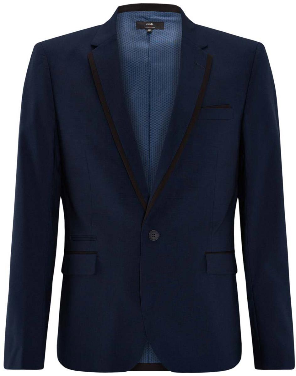 Пиджак мужской oodji Lab, цвет: темно-синий, черный. 2L410163M/44318N/7929B. Размер 46-182 (46-182)2L410163M/44318N/7929BМужской пиджак от oodji выполнен из высококачественного материала. Модель с карманами, лацканами и длинными рукавами застегивается на пуговицу.