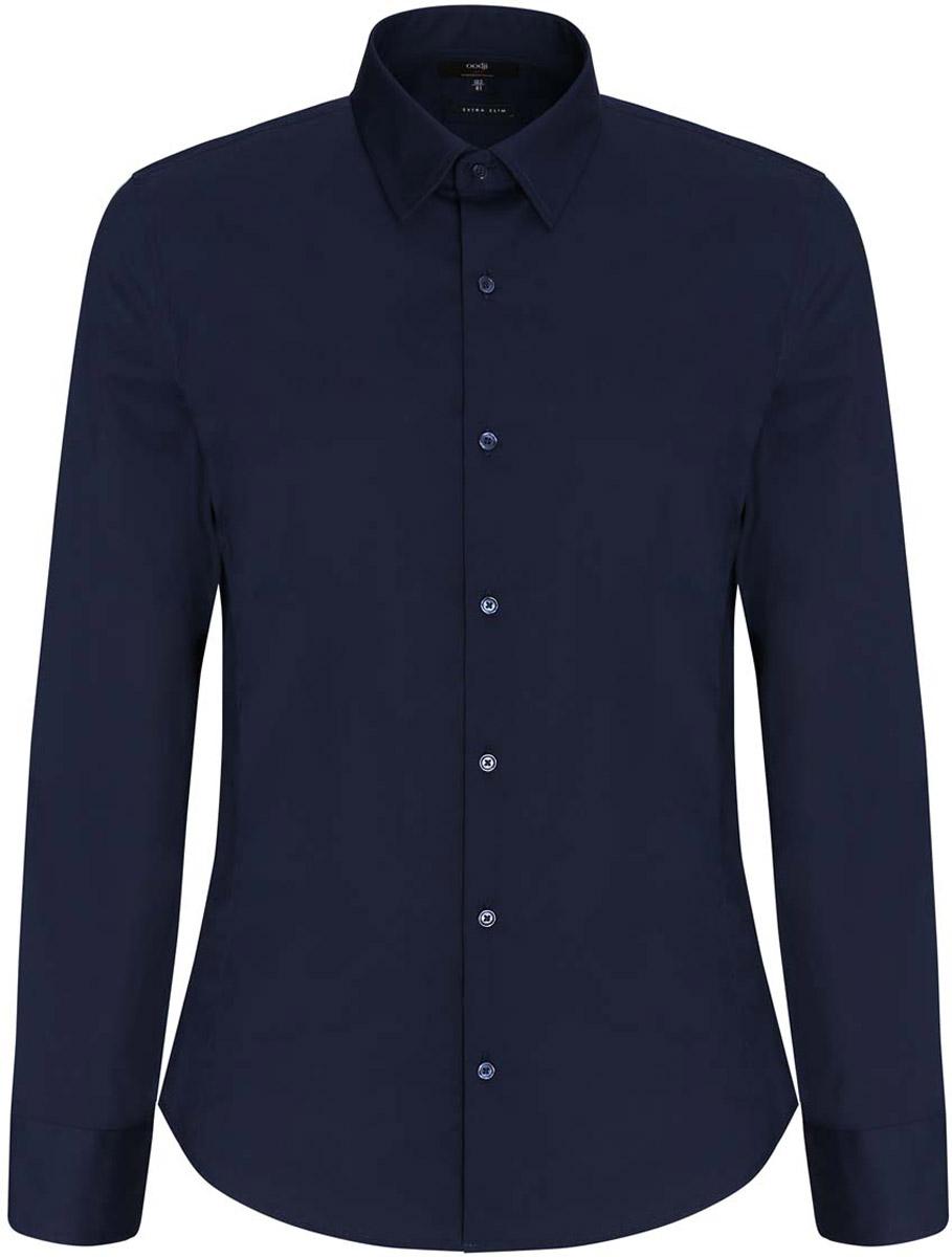 Рубашка мужская oodji Basic, цвет: темно-синий. 3B140000M/34146N/7900N. Размер 40-182 (48-182)3B140000M/34146N/7900NБазовая мужская рубашка приталенного силуэта (extra slim) oodji Basic изготовлена из хлопка с добавлением полиамида и эластана. Она мягкая и приятная на ощупь, не сковывает движения и позволяет коже дышать, обеспечивая наибольший комфорт. Рубашка с отложным воротником и длинными рукавами застегивается на пуговицы. Манжеты рукавов также застегиваются на пуговицы.
