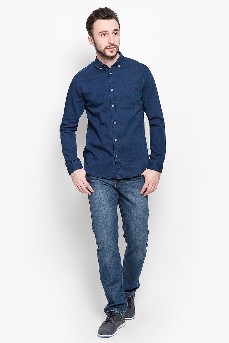 Рубашка мужская Selected Homme, цвет: темно-синий. 16048999. Размер XL (50)16048999_Evening BlueСтильная мужская рубашка Selected Homme изготовлена из высококачественного хлопка.Рубашка с отложным воротником и длинными рукавами застегивается на пуговицы по всей длине. На манжетах и воротнике предусмотрены застежки-пуговицы. Спереди расположен один накладной карман.
