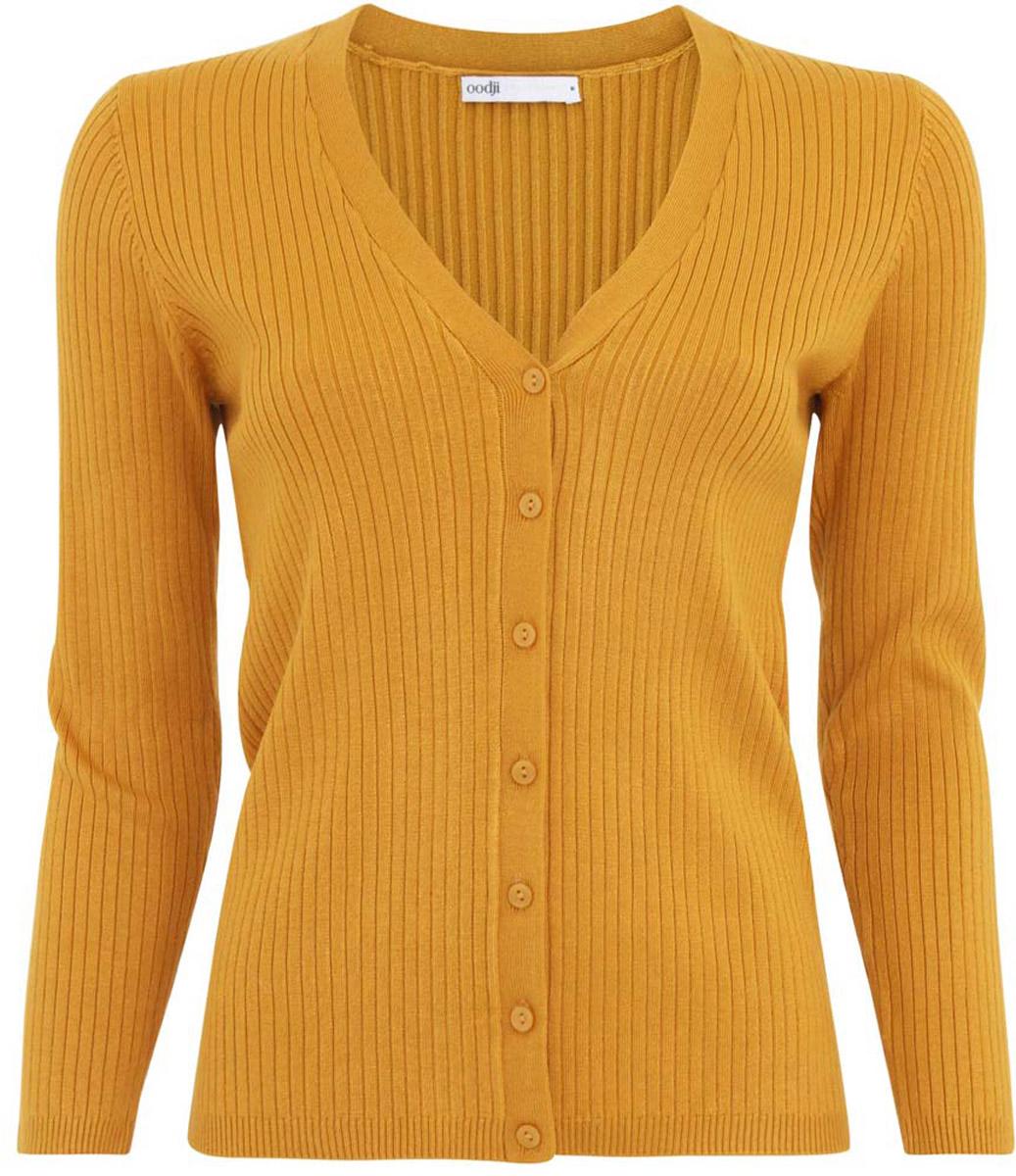 Жакет женский oodji Collection, цвет: желтый. 73212374/42255/5200N. Размер M (46)73212374/42255/5200NТрикотажный жакет oodji изготовлен из качественного смесового материала. Модель с длинными рукавами застегивается на пуговицы по всей длине.
