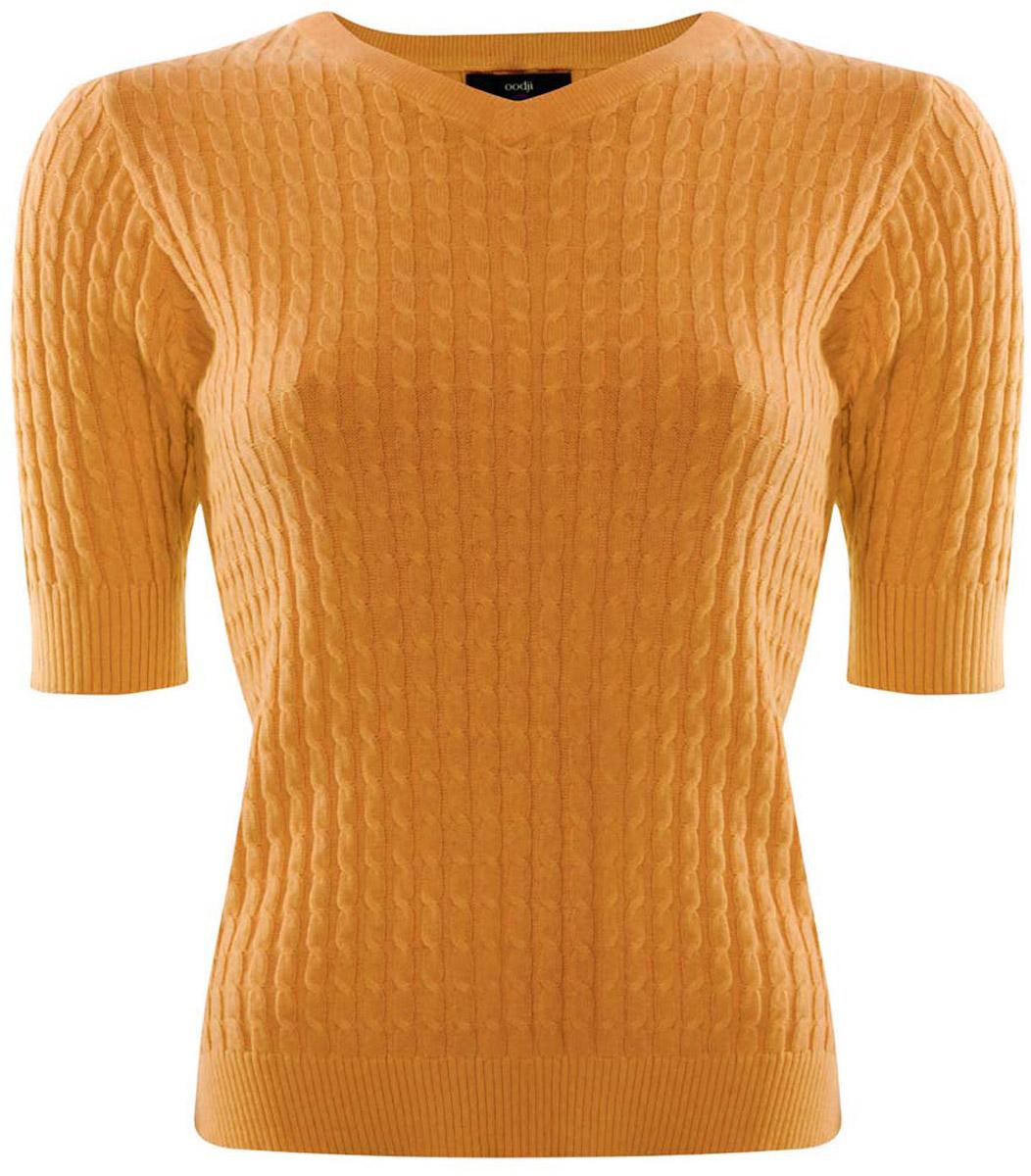Джемпер женский oodji Ultra, цвет: темно-желтый. 63812518-1/42361/5200N. Размер XXS (40)63812518-1/42361/5200NДжемпер женский oodji Ultra изготовлен из натурального хлопка с добавлением полиамида. Модель выполнена с рукавами до локтя и V-образным вырезом. Горловина, низ джемпера и рукавов связаны резинкой, по бокам имеются небольшие разрезы.