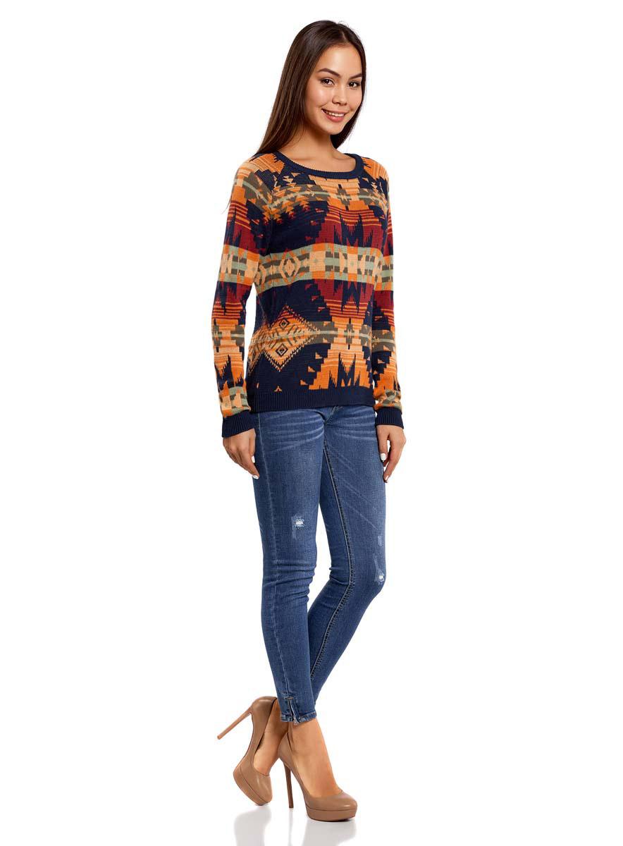 Джемпер женский oodji Ultra, цвет: темно-синий, оранжевый. 63807284/43247/7955J. Размер L (48)63807284/43247/7955JДжемпер с круглым вырезом горловины и длинными рукавами-реглан выполнен из натурального хлопка. Модель оформлена жаккардовым принтом.