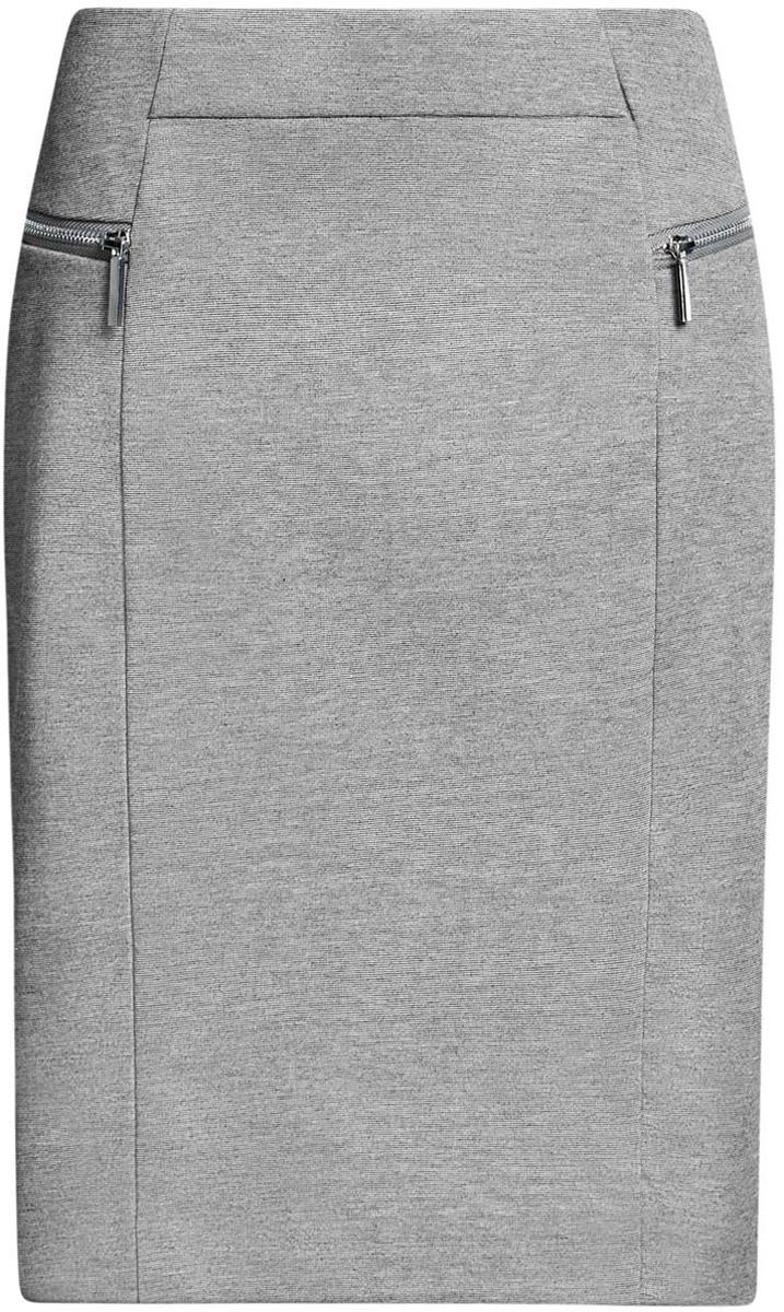 Юбка oodji Collection, цвет: серый меланж. 24100026-1/38261/2500M. Размер L (48)24100026-1/38261/2500MСтильная юбка oodji Collection изготовлена из полиэстера с добавлением вискозы и эластана. Модель застегивается на молнию, расположенную сзади. Спереди расположены две декоративные металлические молнии.