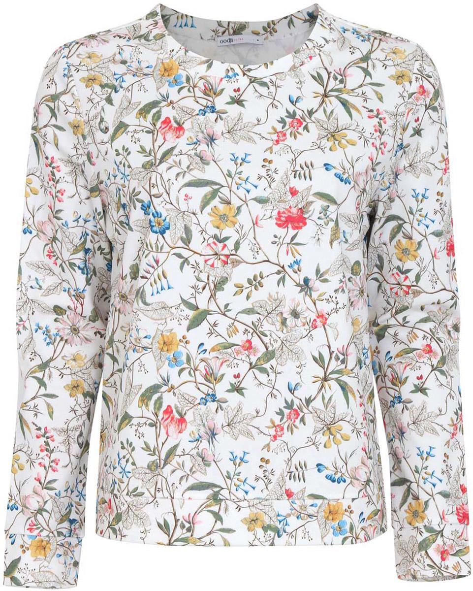 Джемпер женский oodji Collection, цвет: белый, розовый, зеленый, желтый, синий. 24801006-2/33469/124DF. Размер XL (50)24801006-2/33469/124DFЖенский джемпер oodji Collection исполнен из принтованной плотной ткани. Имеет длинные рукава и круглый вырез горловины.