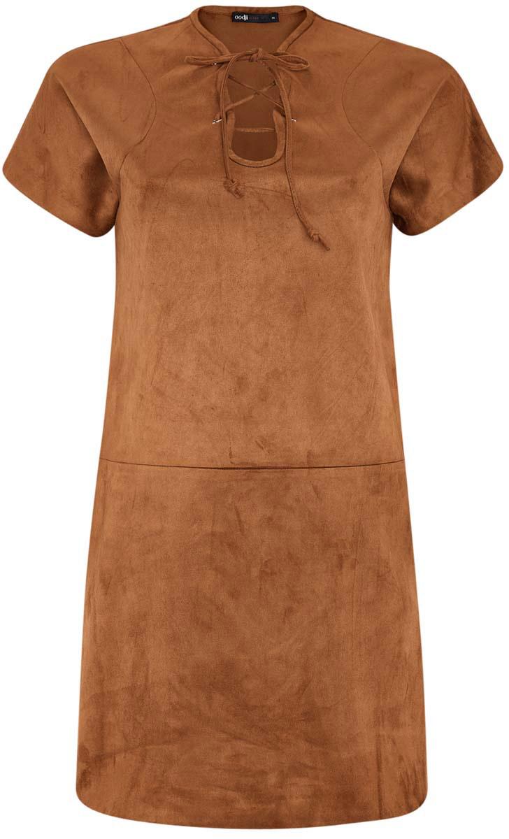 Платье oodji Ultra, цвет: терракотовый. 18L00001/45778/3100N. Размер 42-170 (48-170)18L00001/45778/3100NОригинальное платье прямого кроя oodji Ultra выполнено из мягкой искусственной замши. Модель мини-длины с короткими рукавами имеет фигурный вырез горловины, дополненный шнуровкой.