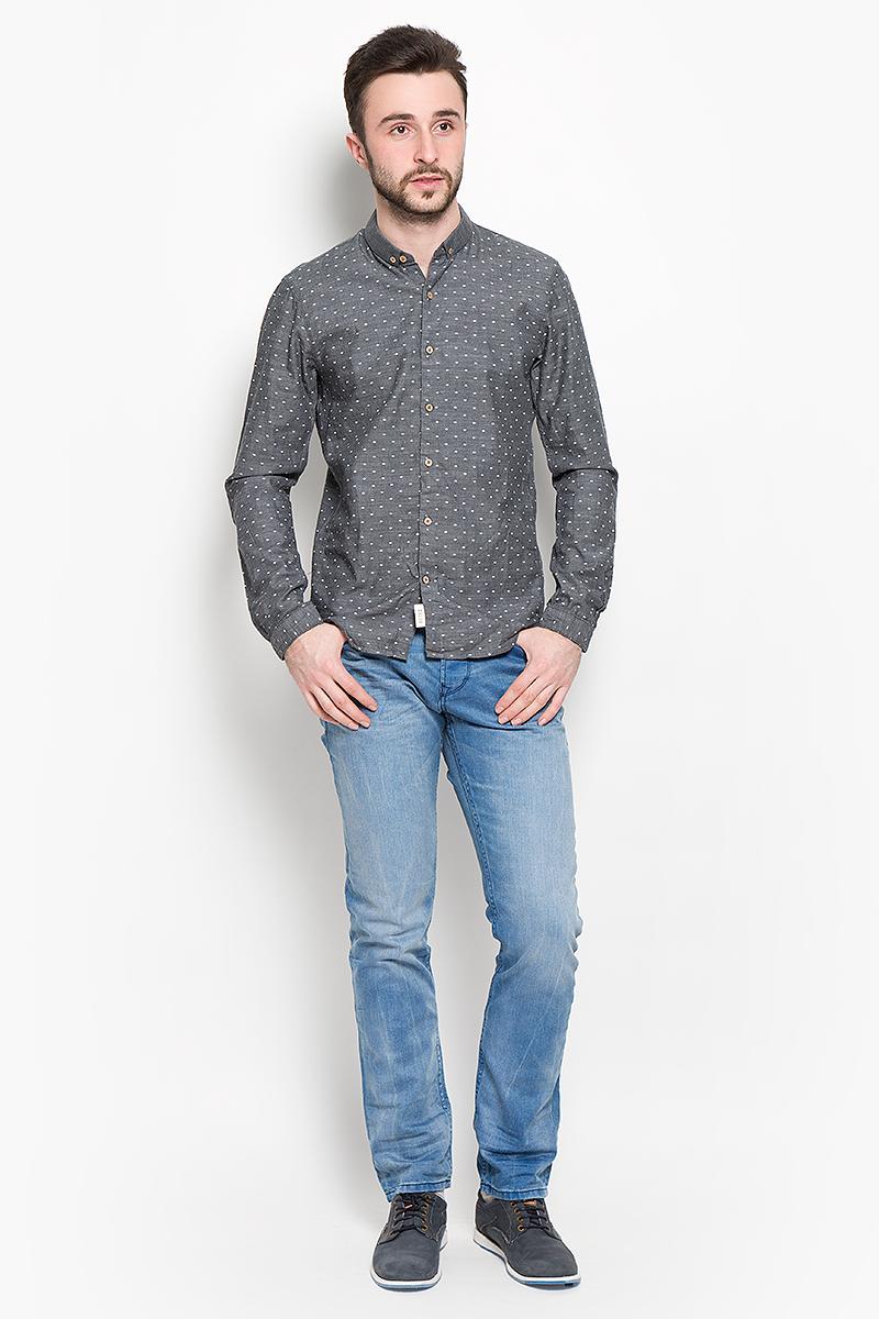Рубашка мужская Tom Tailor Denim, цвет: серый. 2032745.00.12_2801. Размер L (50)2032745.00.12_2801Мужская рубашка Tom Tailor Denim изготовлена из натурального хлопка. Рубашка с отложным воротником и длинными рукавами застегивается напуговицы по всей длине. Низ изделия имеет округлую форму.