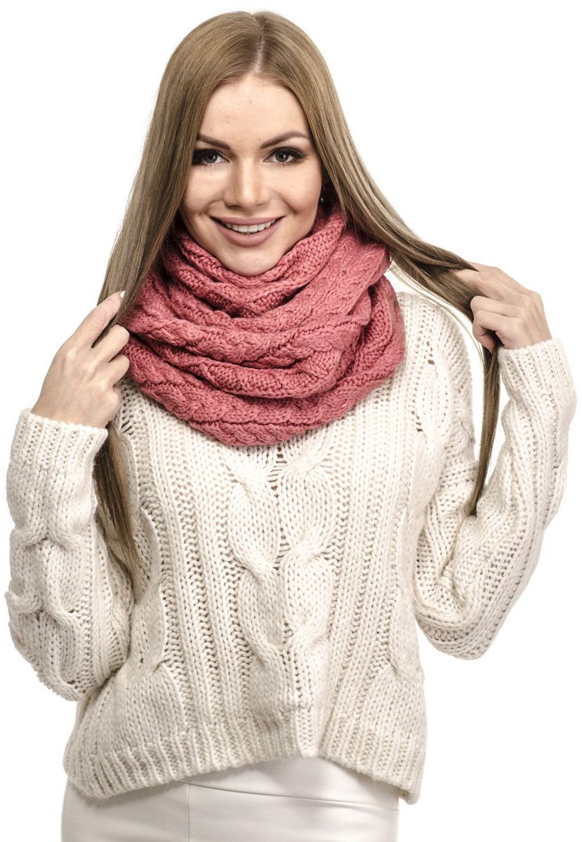 Снуд-хомут женский Moltini, цвет: розовый. 191S-1710. Размер 65 см х 2 см х 30 см191S-1710Стильный вязаный снуд-хомут от Moltini, выполненный из шерсти и акрила, создан подчеркнуть ваш неординарный вкус и согреть вас в прохладное время года.