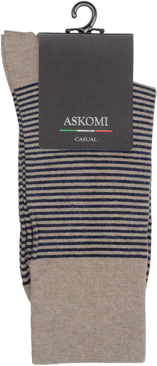 Носки мужские Askomi Casual, цвет: бежевый меланж. АМ-5260. Размер 25 (39-40)АМ-5260Мужские носки Askomi Casual для повседневной носки выполнены из эластичного хлопка Supima. Благодаря тонким и длинным волокнам такой хлопок обладает повышенной прочностью, мягкостью и яркостью цвета. Носок и пятка укреплены, что значительно увеличивает износостойкость носков. Кеттельный шов не ощутим для ноги. Стильный принт с тонкими горизонтальными полосками подчеркнет ваш вкус.