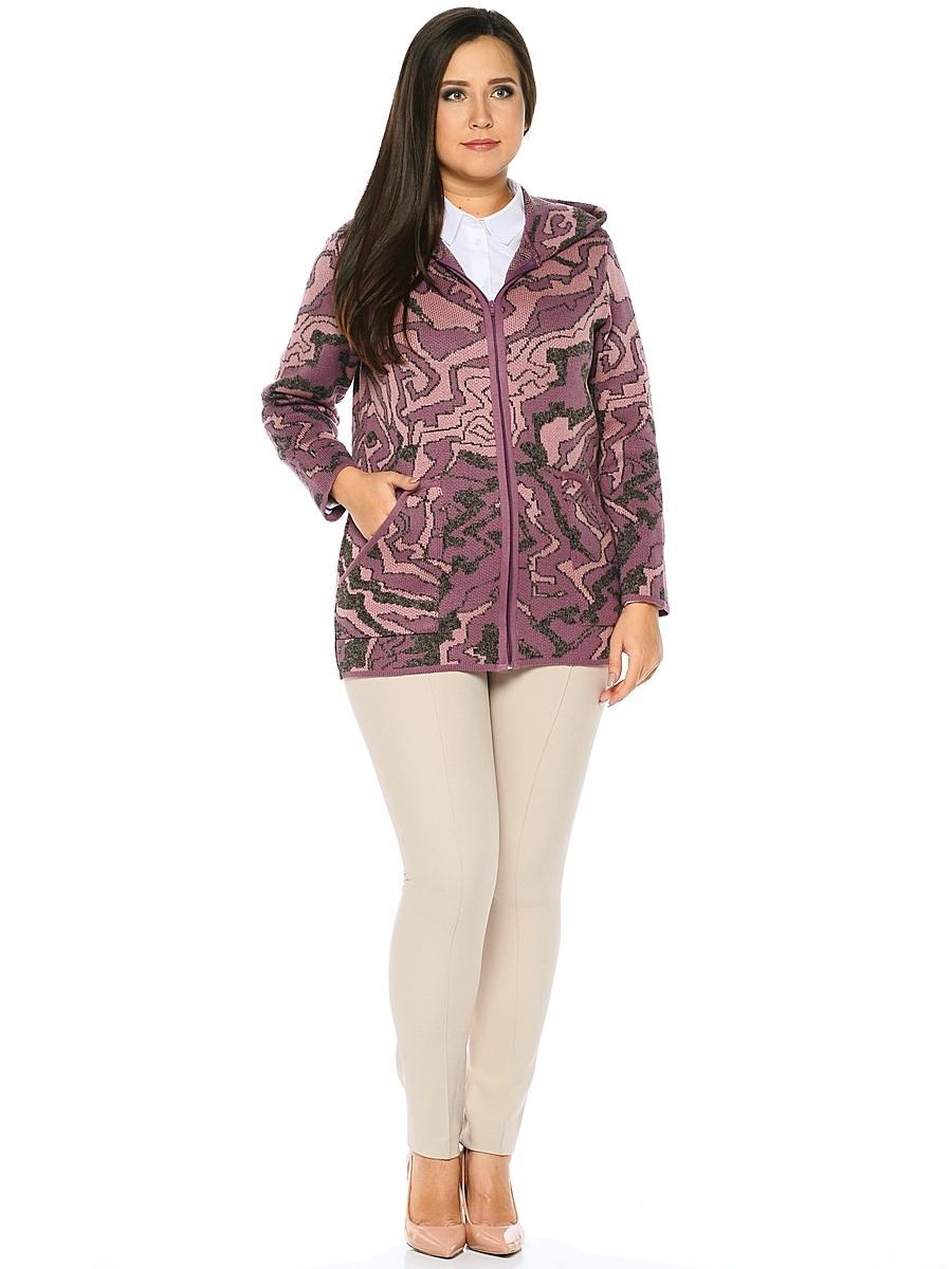 Кардиган женский Milana Style, цвет: розовый, серый. 1149. Размер XXL (52)1149Стильный женский кардиган от Milana Style, выполненный из качественной пряжи, отлично дополнит ваш образ. Модель с капюшоном и длинными рукавами застегивается на молнию по всей длине и дополнена двумя накладными карманами.