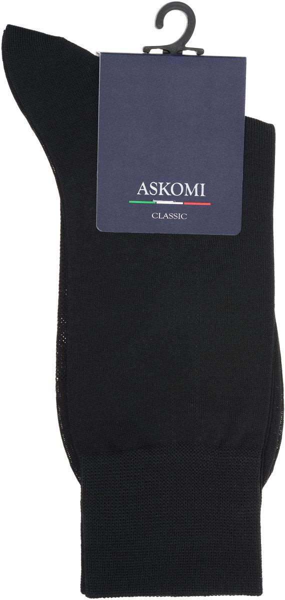 Носки мужские Askomi Classic, цвет: черный. АМ-5200_8101. Размер 25 (39-40)АМ-5200_8101Мужские носки Askomi Classic выполнены из мерсеризованного хлопка. Перфорированная сеточка на стопе придает дополнительную воздухопроницаемость. Двойной борт для плотной фиксации не пережимает сосуды. Укрепление мыска и пятки для идеальной прочности. Кеттельный шов не ощутим для ноги.