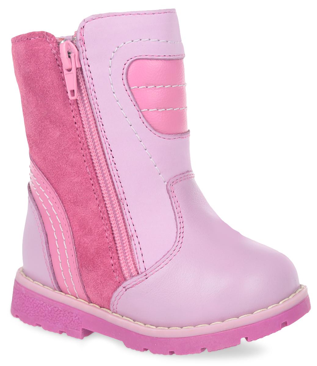 Ботинки утепленные для девочек Зебра, цвет: розовый. 11191-9. Размер 2611191-9Теплые полусапоги от Зебра выполнены из натуральной кожи. Застежка-молния надежно фиксирует изделие на ноге. Мягкая подкладка и стелька из натурального меха обеспечивают тепло, циркуляцию воздуха и сохраняют комфортный микроклимат в обуви. Подошва с рифлением гарантирует идеальное сцепление с любыми поверхностями. Сбоку модель оформлена декоративной молнией.