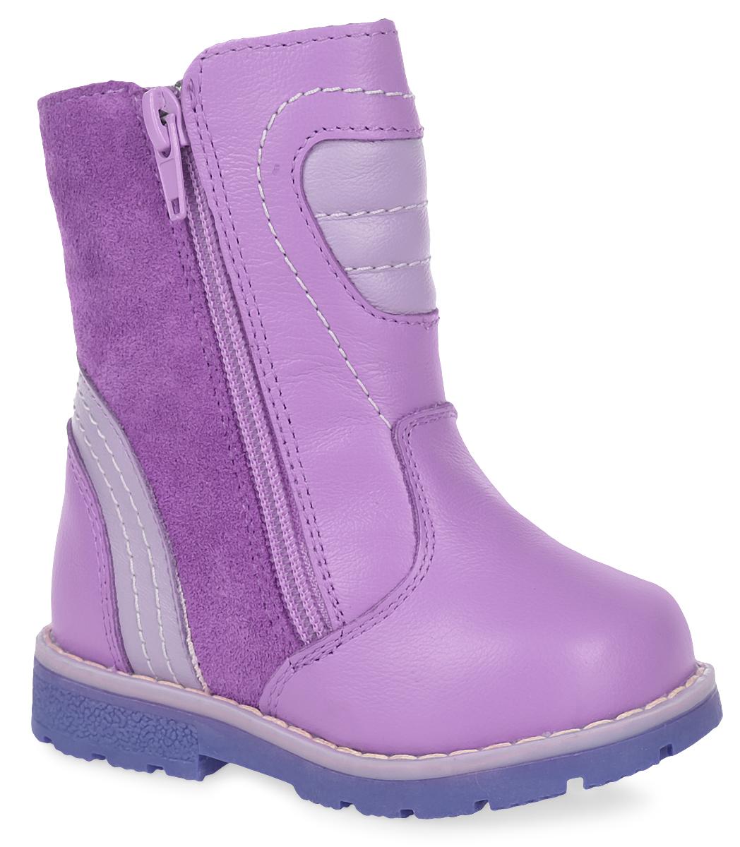 Ботинки утепленные для девочек Зебра, цвет: сиреневый. 11190-20. Размер 2111190-20Теплые полусапоги от Зебра выполнены из натуральной кожи. Застежка-молния надежно фиксирует изделие на ноге. Мягкая подкладка и стелька из натурального меха обеспечивают тепло, циркуляцию воздуха и сохраняют комфортный микроклимат в обуви. Подошва с рифлением гарантирует идеальное сцепление с любыми поверхностями. Сбоку модель оформлена декоративной молнией.