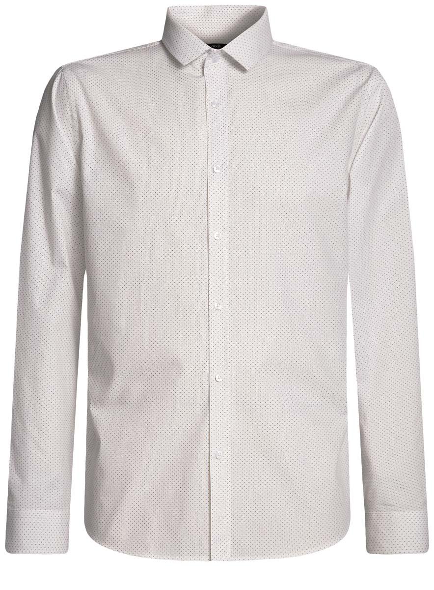Рубашка мужская oodji Basic, цвет: белый, темно-синий. 3B110016M/19370N/1079D. Размер 44-182 (56-182)3B110016M/19370N/1079DМужская рубашка oodji выполнена из натурального хлопка. Модель с длинными рукавами застегивается на пуговицы.