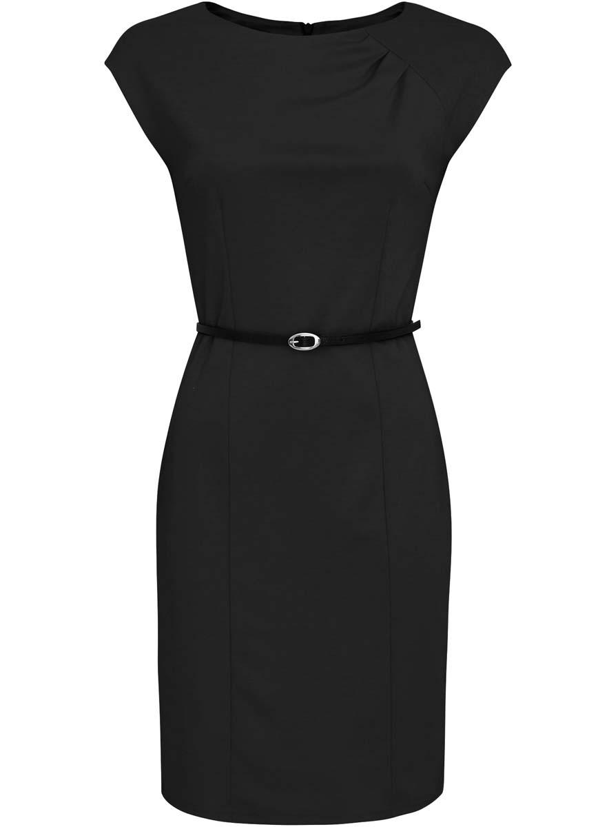 Платье oodji Collection, цвет: черный. 24008306/35477/2900N. Размер XL (50-170)24008306/35477/2900NПриталенное платье oodji Collection, выгодно подчеркивающее достоинства фигуры, выполнено из качественного трикотажа. Модель средней длины с круглымвырезом горловины и короткимирукавами застегивается на скрытую застежку-молнию на спинке.В комплект с платьемвходит узкий ремень из искусственной кожи с металлической пряжкой.