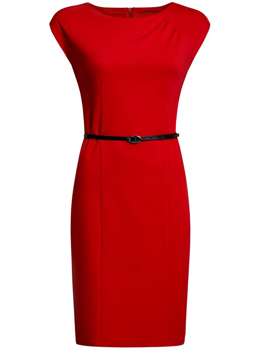 Платье oodji Collection, цвет: красный. 24008306/35477/4500N. Размер XS (42-170)24008306/35477/4500NПриталенное платье oodji Collection, выгодно подчеркивающее достоинства фигуры, выполнено из качественного трикотажа. Модель средней длины с круглымвырезом горловины и короткимирукавами застегивается на скрытую застежку-молнию на спинке.В комплект с платьемвходит узкий ремень из искусственной кожи с металлической пряжкой.