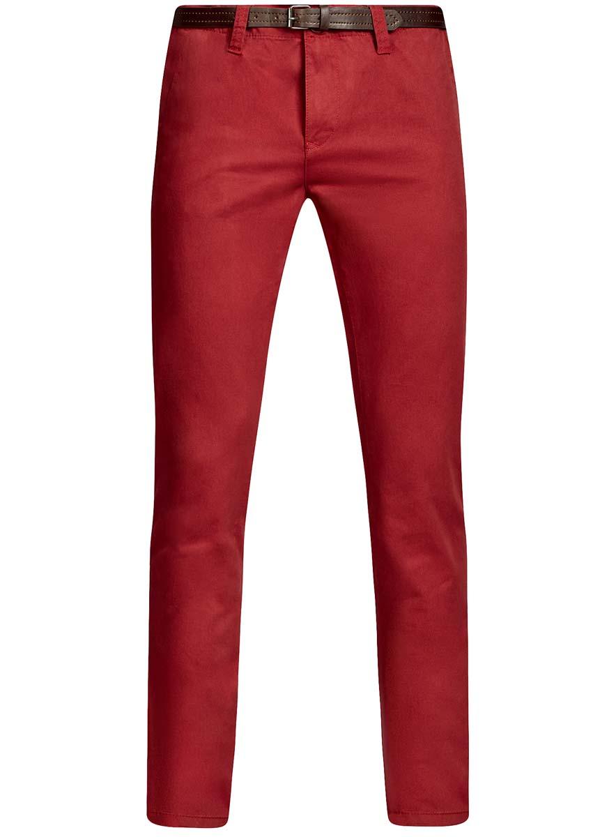 Брюки мужские oodji Basic, цвет: красный. 2B150022M/25735N/4500N. Размер 38-182 (46-182)2B150022M/25735N/4500NМужские брюки oodji Basic выполнены из высококачественного материала. Модель-чинос стандартной посадки застегивается на пуговицу в поясе и ширинку на застежке-молнии. Пояс имеет шлевки для ремня. Спереди брюки дополнены втачными карманами, сзади - прорезными на пуговицах.