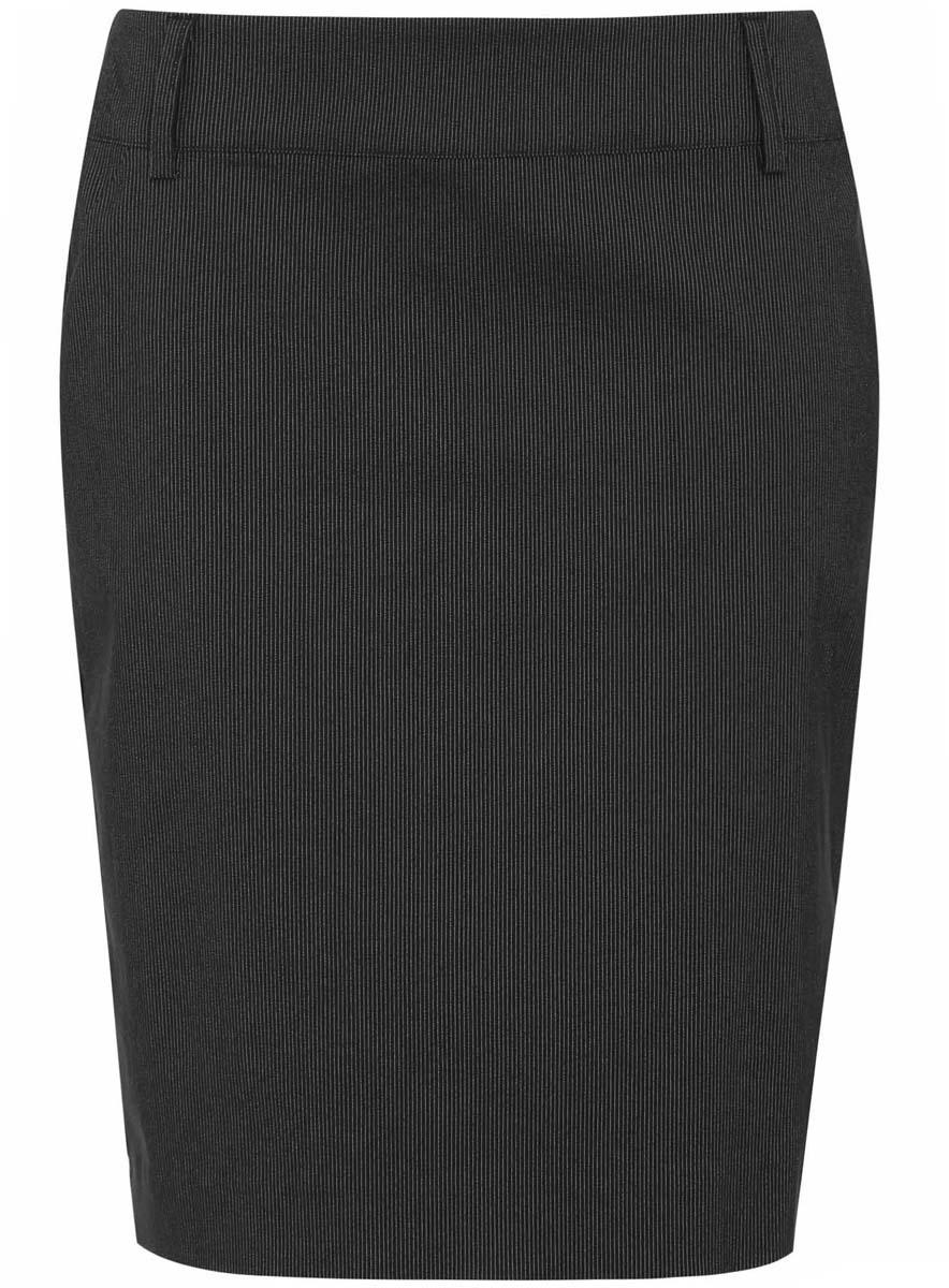 Юбка oodji Ultra, цвет: черный, белый. 11610003-1/14347/2912S. Размер 44-170 (50-170)11610003-1/14347/2912SСтильная юбка-карандаш выполнена из высококачественного материала. Модель застегивается на потайную застежку-молнию. Имеются шлевки для ремня.
