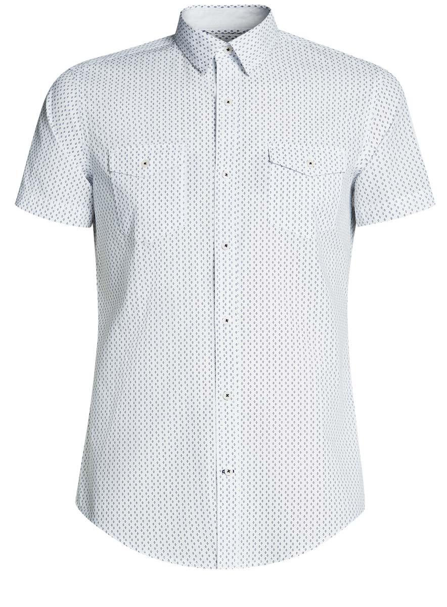 Рубашка мужская oodji Lab, цвет: белый, синий. 3L410044M/39312N/1075G. Размер M-182 (50-182)3L410044M/39312N/1075GМужская рубашка от oodji выполнена из натурального хлопка. Модель с короткими рукавами и нагрудными карманами застегивается на пуговицы.