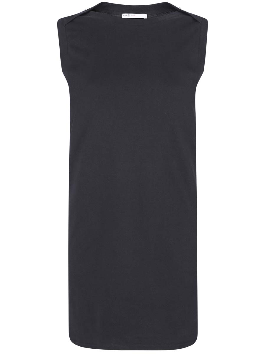 Платье oodji Ultra, цвет: черный. 14005074-1B/46149/2900N. Размер XS (42-170)14005074-1B/46149/2900NПлатье без рукавов oodji Ultra прямого кроя выполнено из плотной хлопковой ткани пике и оформлено декоративными пуговицами на воротнике. Модель мини-длины с круглым вырезом горловины дополнена двумя прорезными карманамипо бокам юбки.