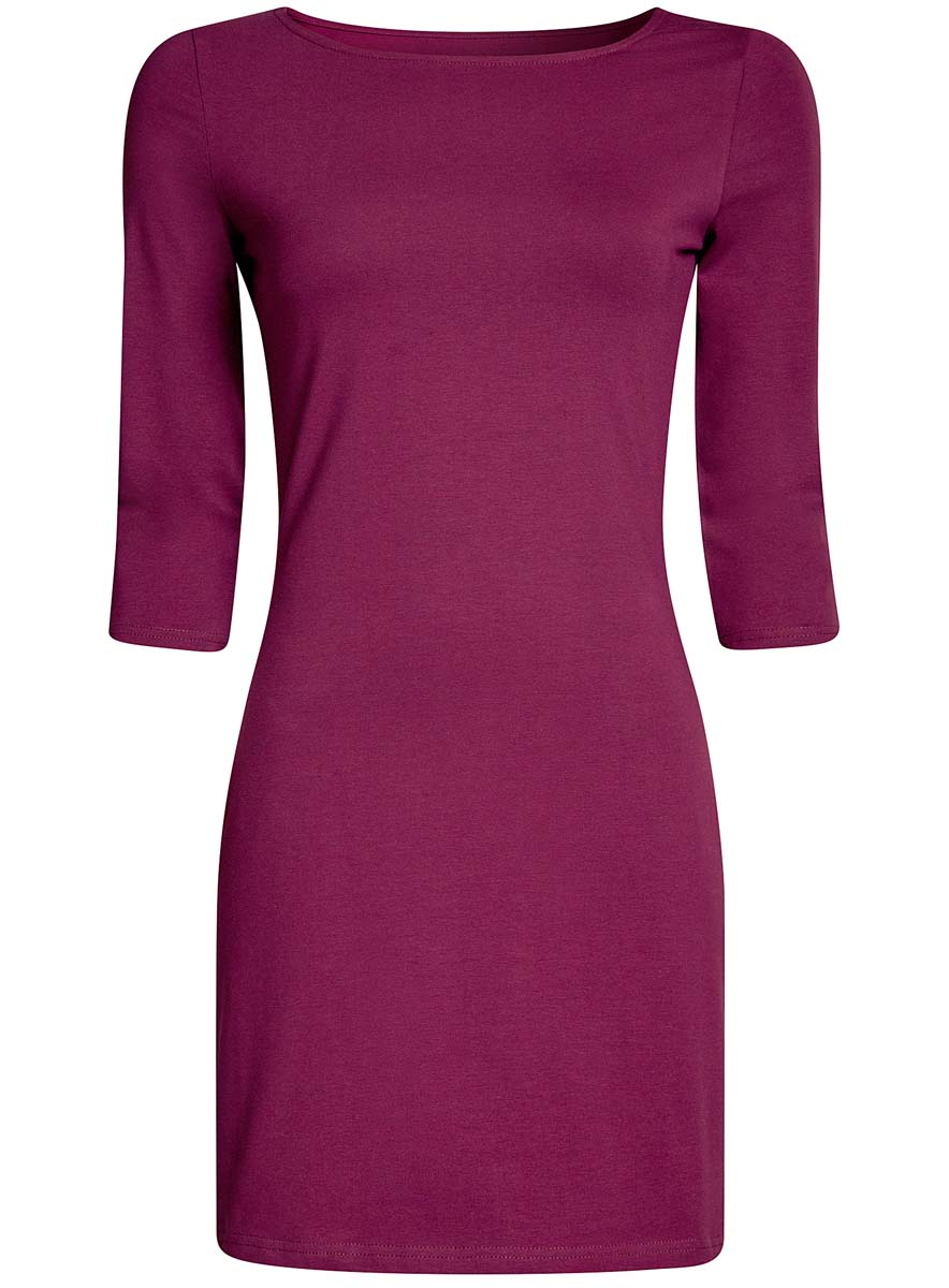 Платье oodji Ultra, цвет: брусничный. 14001071-2B/46148/8300N. Размер XS (42)14001071-2B/46148/8300NСтильное платье oodji, выполненное из хлопка с добавлением эластана, отлично дополнит ваш гардероб. Модель длины мини с круглым вырезом горловины и рукавами 3/4.