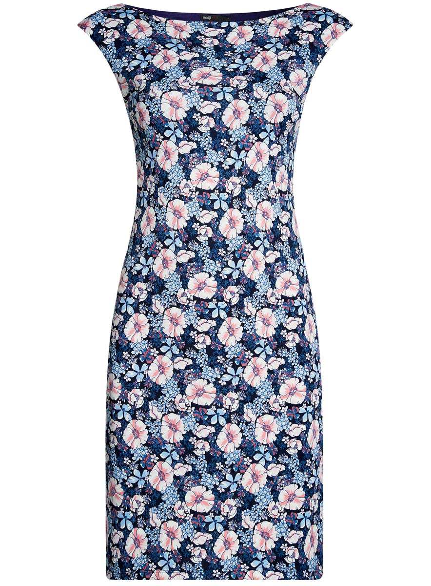 Платье oodji Ultra, цвет: темно-синий, розовый, голубой. 14001170-1/45344/7941F. Размер S (44)14001170-1/45344/7941FПлатье oodji Ultra выполнено из полиэстера и эластана. Модель миди оформлена оригинальным цветочным принтом. Платье с вырезом горловины лодочкой не имеет рукавов.
