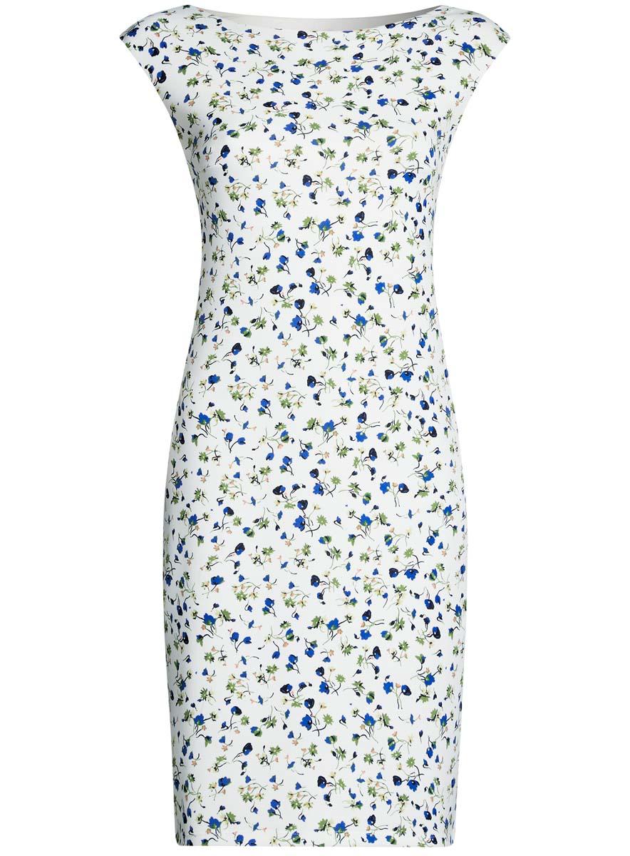 Платье oodji Ultra, цвет: белый, синий, зеленый. 14001170-1/45344/1275F. Размер XS (42)14001170-1/45344/1275FПлатье oodji Ultra выполнено из полиэстера и эластана. Модель миди оформлена оригинальным цветочным принтом. Платье с вырезом горловины лодочкой не имеет рукавов.