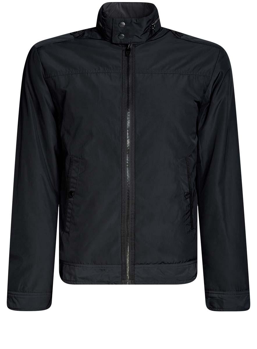 Куртка мужская oodji Lab, цвет: темно-синий. 1L514010M/46356N/7900N. Размер M-182 (50-182)1L514010M/46356N/7900NМужская куртка oodji Lab выполнена из высококачественного материала. Модель с воротником-стойкой застегивается на застежку-молнию, а воротник на кнопки. Спереди расположено два прорезных кармана на кнопках.
