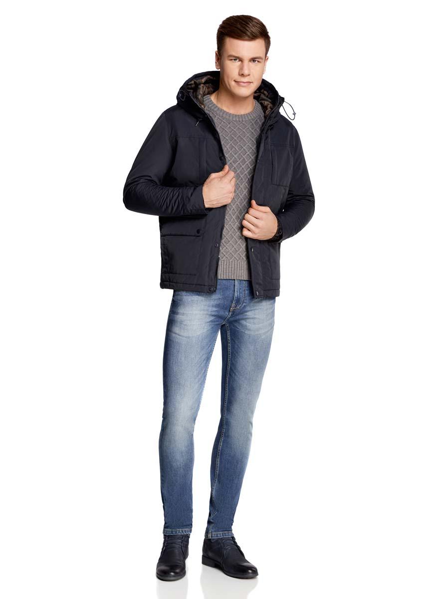 Куртка мужская oodji Lab, цвет: темно-синий. 1L412027M/46215N/7900N. Размер XXL-182 (58/60-182)1L412027M/46215N/7900NМужская куртка oodji Lab выполнена из высококачественного материала. В качестве подкладки и утеплителя используется полиэстер. Модель с капюшоном застегивается на застежку-молнию и дополнительно ветрозащитным клапаном на кнопки. Спереди расположено множество карманов.