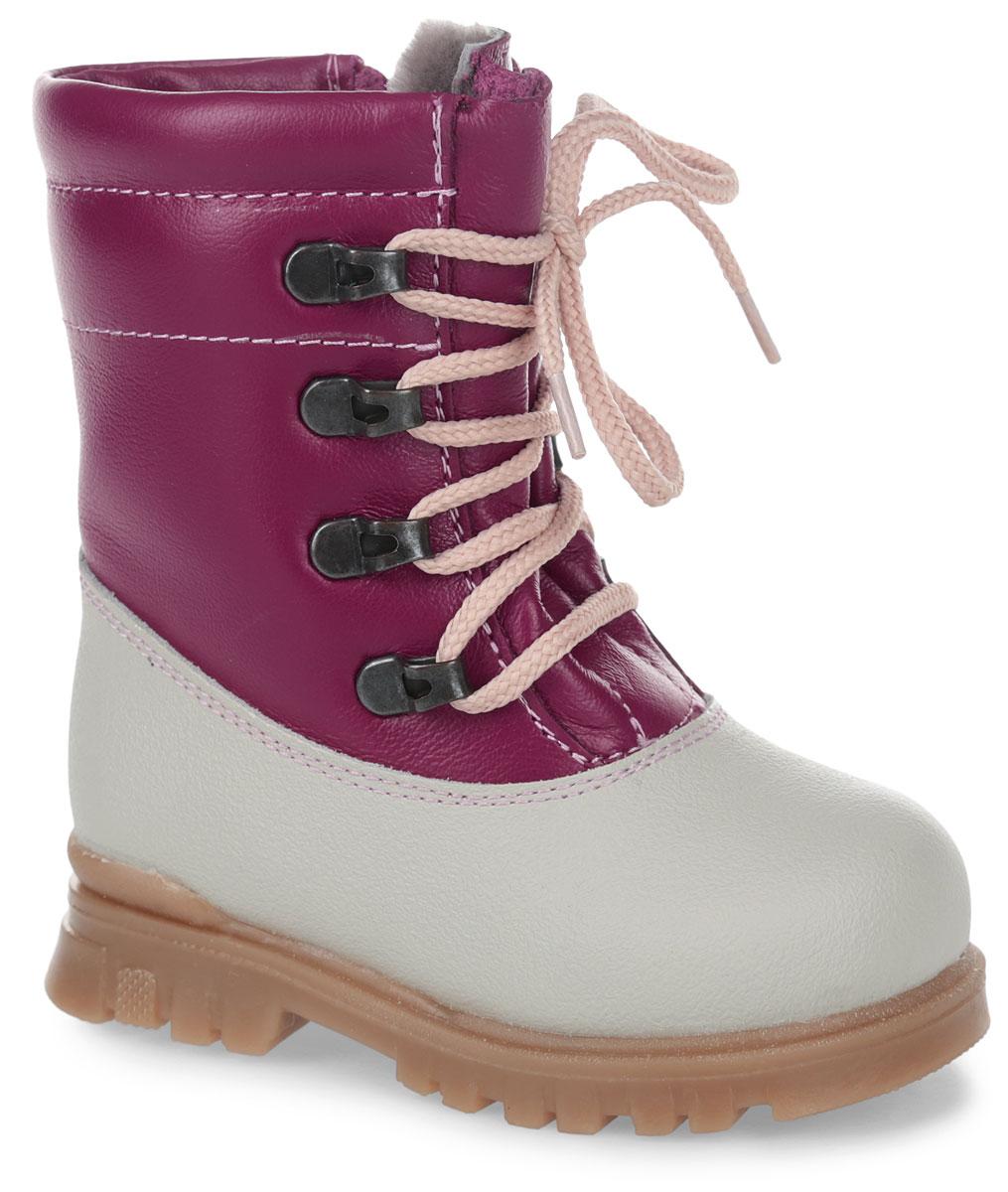 Ботинки для девочки Зебра, цвет: розовый. 11185-9. Размер 2511185-9Модные ботинки от Зебра заинтересуют вашу девочку с первого взгляда! Модель выполнена из натуральной кожи. Шнуровка надежно зафиксирует модель на ноге. Боковая застежка-молния позволяет легко снимать и надевать модель. Подкладка и стелька из натурального меха не дадут ногам замерзнуть. Подошва дополнена рифлением.