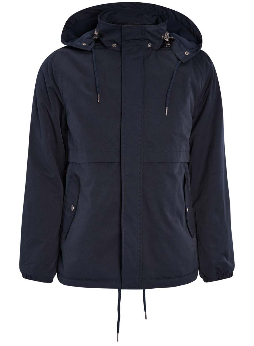 Куртка мужская oodji Lab, цвет: темно-синий. 1L412022M/39827N/7900N. Размер XXL-182 (58/60-182)1L412022M/39827N/7900NМужская куртка oodji Lab выполнена из высококачественного материала. Модель с капюшоном застегивается на застежку-молнию и дополнительно ветрозащитным клапаном на кнопки. Капюшон дополнен по краю шнурком-кулиской. Спереди расположено два прорезных кармана.