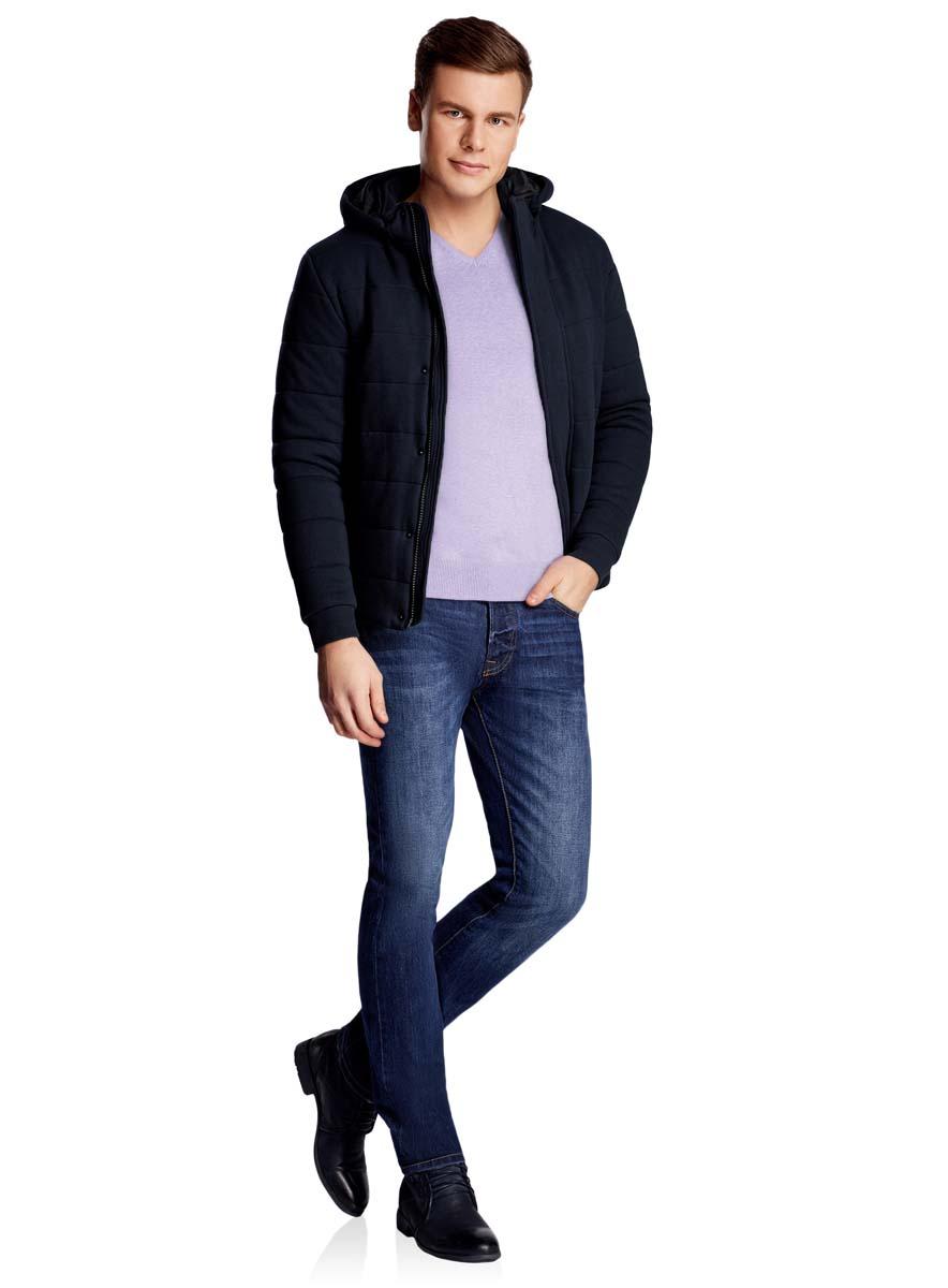 Куртка мужская oodji Lab, цвет: темно-синий. 1L112023M/46320N/7900N. Размер XL-182 (56-182)1L112023M/46320N/7900NМужская куртка oodji Lab выполнена из высококачественного материала. В качестве подкладки и утеплителя также используется полиэстер. Модель с съемным капюшоном застегивается на застежку-молнию и дополнительно ветрозащитным клапаном на кнопки. Спереди расположено два прорезных кармана.