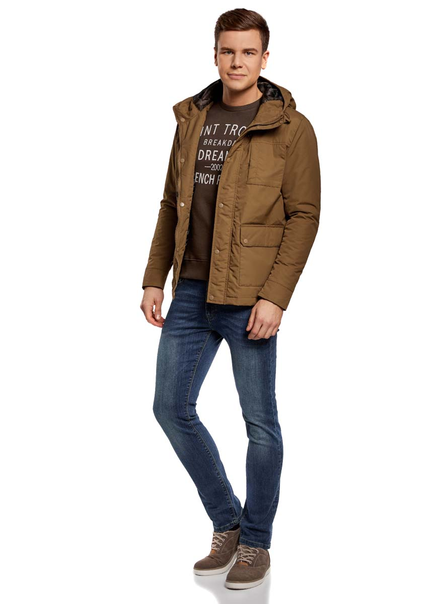 Куртка мужская oodji Lab, цвет: темно-бежевый. 1L412027M/46215N/3500N. Размер XXL-182 (58/60-182)1L412027M/46215N/3500NМужская куртка oodji Lab выполнена из высококачественного материала. В качестве подкладки и утеплителя используется полиэстер. Модель с капюшоном застегивается на застежку-молнию и дополнительно ветрозащитным клапаном на кнопки. Спереди расположено множество карманов.