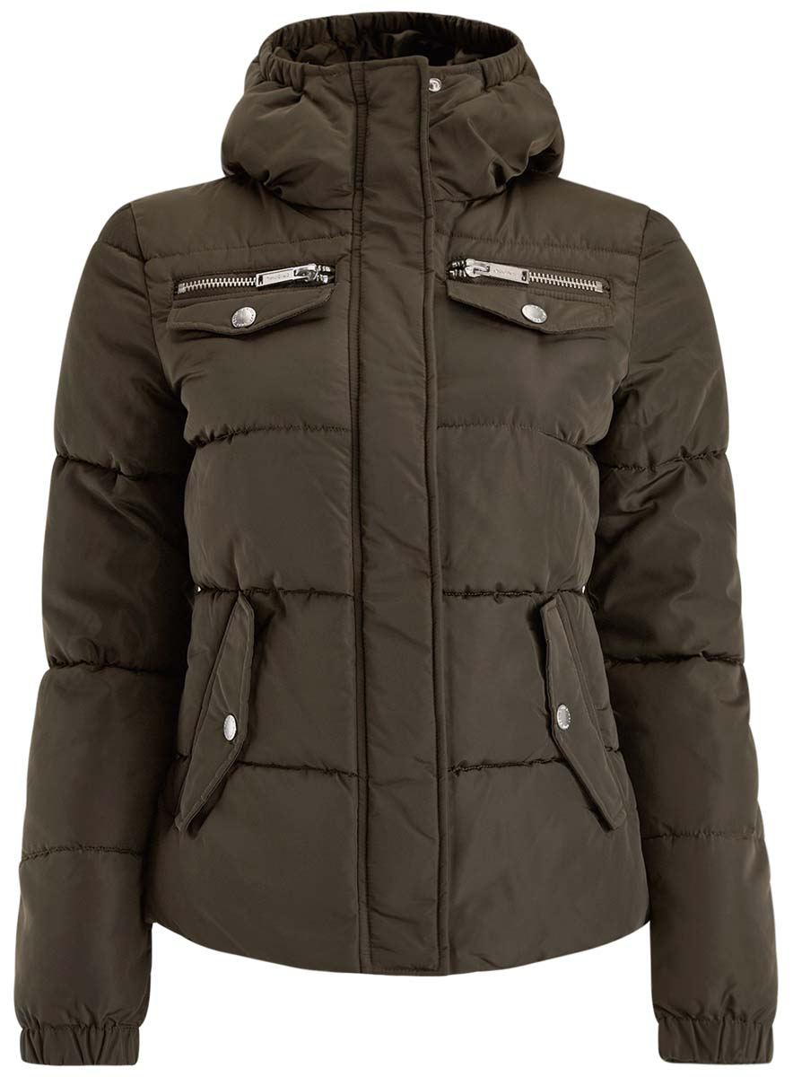 Куртка женская oodji Ultra, цвет: темно-зеленый. 10203053/43802/6900N. Размер 36-170 (42-170)10203053/43802/6900NЖенская куртка oodji Ultra выполнена из высококачественного материала, в качестве подкладки используется полиэстер. Утеплитель - синтепон. Модель с воротником-стойкой застегивается на застежку-молнию и дополнительно ветрозащитным клапаном на кнопки. Спереди расположено множество карманов.