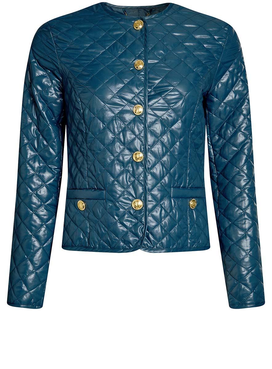 Куртка женская oodji Ultra, цвет: голубой. 10200077-2/46455/7400N. Размер 38-170 (44-170)10200077-2/46455/7400NСтеганая куртка oodji Ultra утеплена тонким слоем синтепона. Модель с круглым вырезом горловины застегивается на кнопки. Куртка прекрасно смотрится и с платьем и с джинсами, что делает ее незаменимой для городских будней. Модель дополнена двумя карманами.